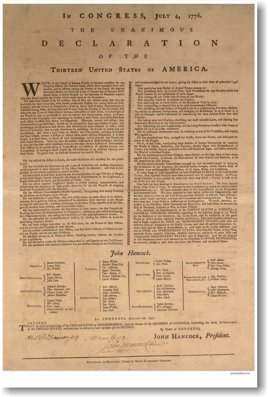 U S  Declaration of Independence - July 4, 1776