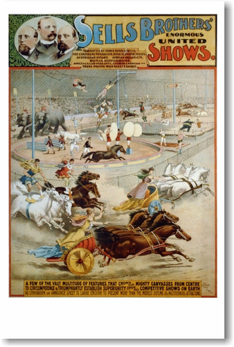 Sells Bros Enormous United Shows - Reproduction Vintage late 1800's Circus Art Poster (vi005)