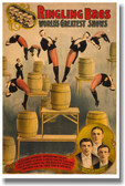 Ringling Bros - World's Greatest Shows - Vintage Reproduction Art Circus Raschetta Brothers daring blindfolded acrobats 1899 PosterEnvy Poster (vi004)