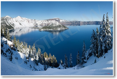 Crater Lake National Park Oregon Snow Snowy Pine trees NEW World Travel Poster (tr469)