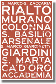 Venice water bus stop names Rialto Murano - Italian Travel Sign PosterEnvy Poster