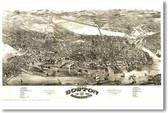 Boston Massachusetts Vintage Map Circa 1880