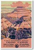 Grand Canyon National Park - Vintage Artwork Poster