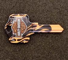 Harley Davidson Flames Kwikset KW1, KW10 & KW11 House Key Blank
