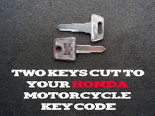 1985-2015 Honda Rebel CMX250, 450 Motorcycle Keys Cut By Code - 2 Working Keys