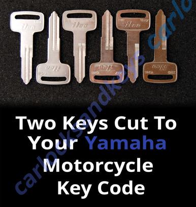 2 Yamaha Motorcycle Keys Cut to Code Replacement Keys Codes 2611-2625