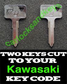 1980, 1983 Kawasaki 250 LTD (KZ250D, KZ250W) Motorcycle Keys Cut By Code - 2 Working Keys