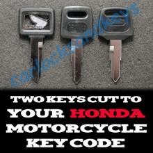 Honda Motorcycle, ATV, SXS, Scooter Black Motorcycle Keys Cut By Code - 2 Working Keys