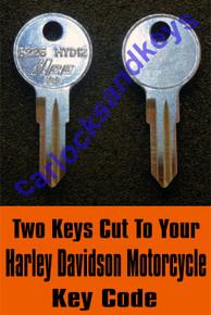 1984-1994 Harley Davidson Softail & Wide Glide HYD12 Keys Cut To Your Key Code - 2 Working Keys