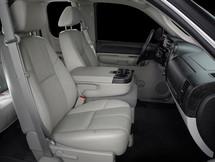 SB-GM-SLVCTR2/10W3v3/BK: Stealthbox® for 2007-2013 Chevrolet / GMC Full-Size SUV's with 40/20/40 split front bench, locking lower storage SKU # 94651