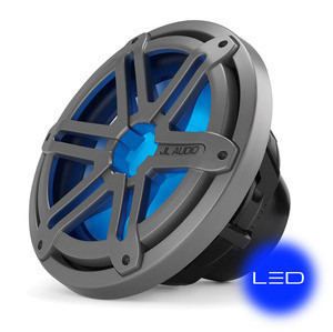 JL Audio MX10IB3-SG-TLD-B: 10-inch (250 mm) Marine Subwoofer Driver, Titanium Sport Grille with Blue LED, 4 Ω