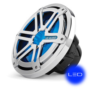 JL Audio MX10IB3-SG-CLD-B: 10-inch (250 mm) Marine Subwoofer Driver, Chrome Sport Grille with Blue LED, 4 Ω