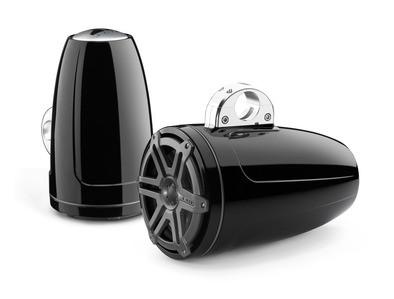 JL Audio M880-ETXv3-SG-TB: 8.8-inch (224 mm) Enclosed Tower Coaxial System, Black Gel-Coat, Titanium Sport Grilles