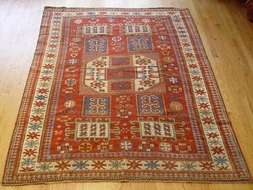 """Antique Karachof Kazak Caucasian  5'6"""" x 7'8"""""""