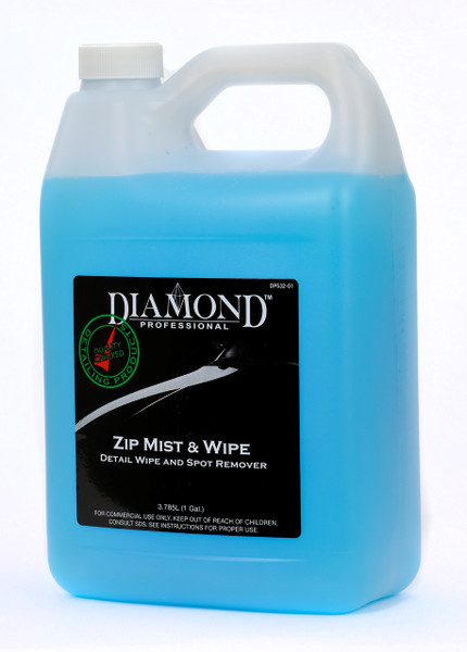 Zip Mist & Wipe easily cleans hard water spots, dirt, fingerprints, dust and mineral deposits in addition to buffing and polishing residue. Use it with or without water.