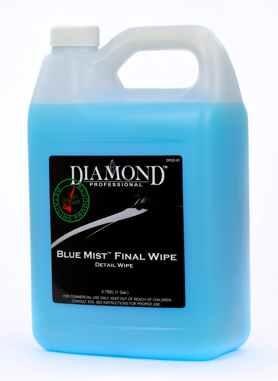 """Blue Mist Final Wipe easily removes dust, fingerprints, dirt, and even buffing and polishing residue leaving a """"showroom"""" shine on your vehicle's surface. Just spray and wipe for exceptional results with or without the the use of water. Blue Mist can also be used after washing to enhance the vehicle's finish prior to wiping off the final water spots. Works on a variety of surfaces including wood, veneer, chrome and glass.  Blue Mist can be used as a lubricant for easy claying of your vehicle.  We recommend using a microfiber towel for improved gloss and protection."""