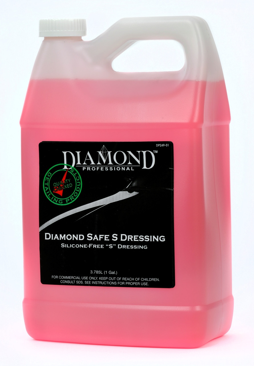Diamond Safe S Dressing is a body shop safe, purple, non-silicone medium to high gloss dressing that works well on rubber and trim surfaces, such as tires, moldings and mud flaps. It is a no-touch, easy to apply self-leveling dressing. Diamond Safe S Dressing is a versatile product and can be applied by spraying, brushing or using a sponge applicator on the desired surface. It is a no-touch, long-lasting, silicone-free exterior dressing that performs remarkably well and is a great solution for paint shops concerned about silicone contaminants.