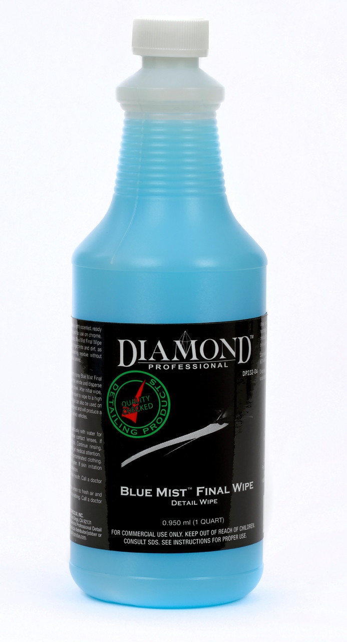 """Blue Mist Final Wipe easily removes dust, fingerprints, dirt, and even buffing and polishing residue leaving a """"showroom"""" shine on your vehicle's surface. Just spray and wipe for exceptional results without the use of water. Blue Mist can also be used after washing to enhance the vehicle's finish prior to wiping off the final water spots. Works on a variety of surfaces including wood, veneer, chrome and glass. Use with a cotton towel for improved gloss and protection."""