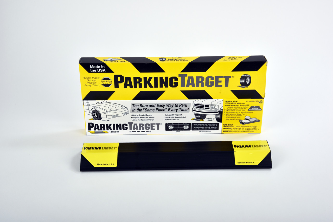 Get 2 Parking Targets for $25.95. Introducing the Parking Target, a great way to manage the parking location of the cars in your garage. The strong adhesive strips safely anchor the parking stop to the garage floor, assuring that you park in the same place every time. No more bumping into the bikes or tool cabinet in front of the car. No more closing the garage door on the bumper when you have not pulled in far enough! You just need one target per car. Simply use the adhesive strips to position the target on the floor. You can either position the stop in front or in back of the tire. Driving over it will not dislodge it.