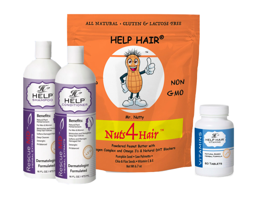 Nutty Combo Pack- Nuts4Hair (30 servings), Help Shampoo, Help Conditioner, Help Hair Vitamins