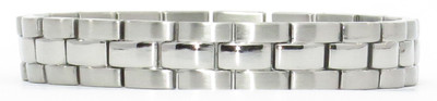 Elegance - Silver-Plated Stainless Steel Magnetic Therapy Bracelet