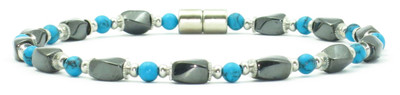 Simulated Turquoise Hematite - Magnetic Therapy Anklet