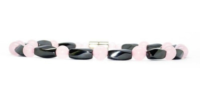 Simulated Rose Quartz Hematite - Magnetic Therapy Anklet