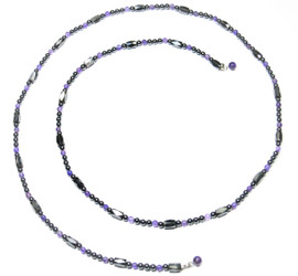 Simulated Amethyst Magnetic Lariat Style Necklace