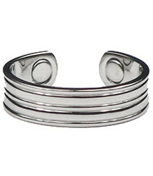 Silver Grooves - Silver-Plated Magnetic Therapy Ring