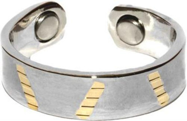 Gold Tone Stripe - Gold-plated Magnetic Therapy Ring