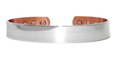 Silver Real Man's Choice- silver-plated Solid Copper Magnetic Therapy Cuff Bracelet