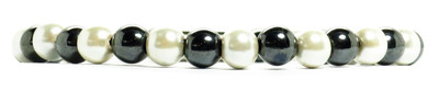 Hematite w- simulated Pearl Coating and Magnetic Clasp - Magnetic Therapy Bracelet