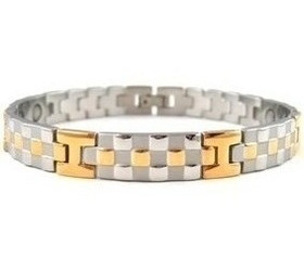 Gold and Silver Checkers - Gold And silver-plated Magnetic  Bracelet