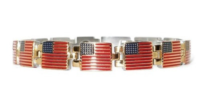 Gold Tone Flags - gold-plated  Magnetic  Bracelet
