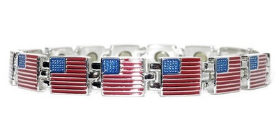 Silver Flags -  silver-plated  Magnetic  Bracelet