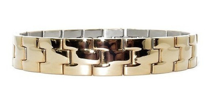 Gold Tone Blocks - gold-plated  Magnetic  Bracelet