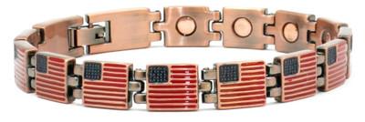 US Flag Copper Magnetic Bracelet