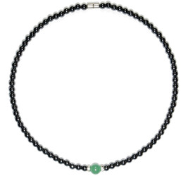 Hematite and Simulated  Green Aventurine - Magnetic Therapy Necklace