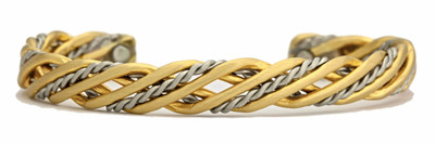 Sergio Lub Trellis Brushed Magnetic Silver & Brass Magnetic Bracelet - Made in USA!