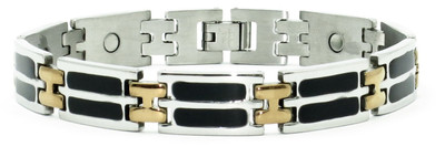 Double Black Enamel - Stainless Steel Magnetic Therapy Bracelet