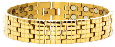 Gold Tone Squares (two 5,000 gauss magnets per link) - Gold-Plated  Magnetic  Bracelet