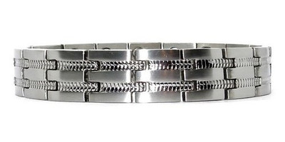 Double Power - 316L Stainless Steel Magnetic Bracelet with Two 5,000 Gauss Magnets Per Link