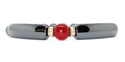 Hematite Simulated Red Agate - Magnetic  Bracelet