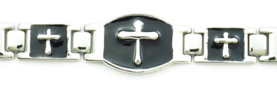 Silver Crosses 5,000 gauss - silver-plated  Magnetic  Bracelet