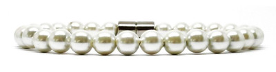 Simulated Pearl Hematite Spheres - Magnetic Therapy Bracelet