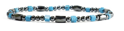 Aqua -Hematite Magnetic Anklet - Special