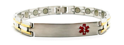 Gold Tone Lines Medical ID -  Stainless Steel Magnetic Therapy  Bracelet - !