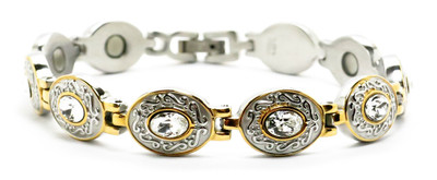 Daisies -  Stainless Steel Magnetic Therapy  Bracelet - !