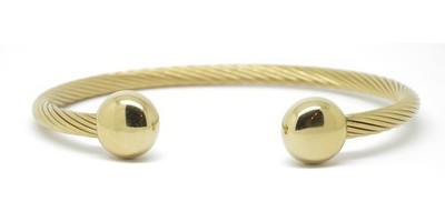 X-Large gold-plated Golfers Choice - Stainless Steel Magnetic Cuff Bracelet