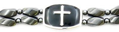 Silver Cross  - Hematite Magnetic Therapy Bracelet - Size 8 1/2 inches.